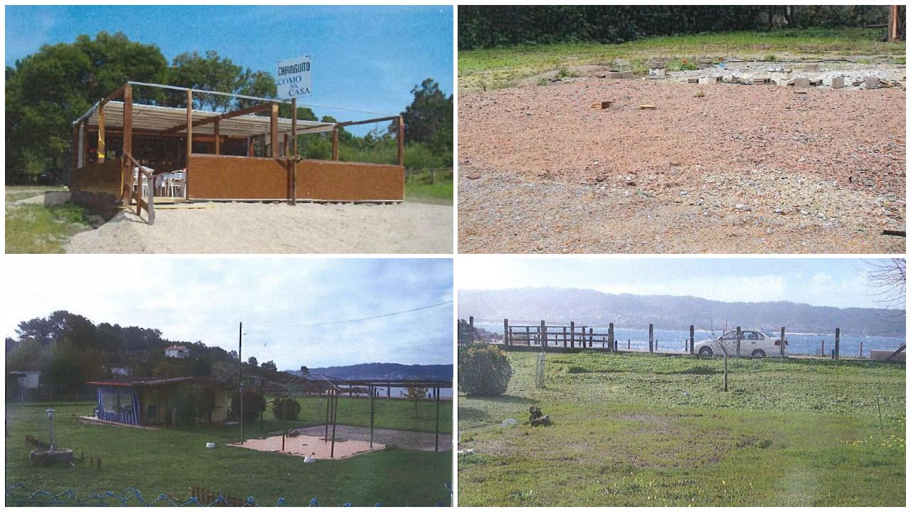 Dos casos de establecimientos hoteleros irregularon junto a la costa, uno en O Grove (arriba), y otro en Bueu (abajo), ambos documentados por la Xunta. Y ambos derribados