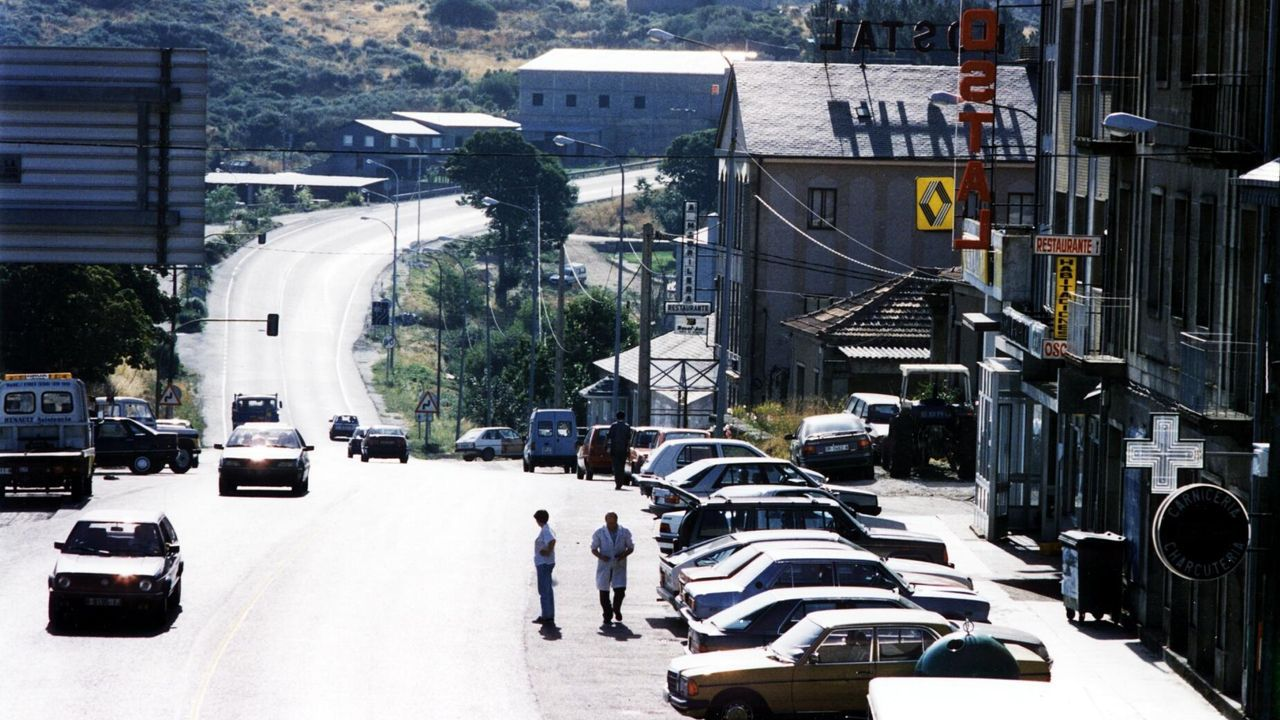 La ribera chantadina de San Fiz, en una imagen del año 1973