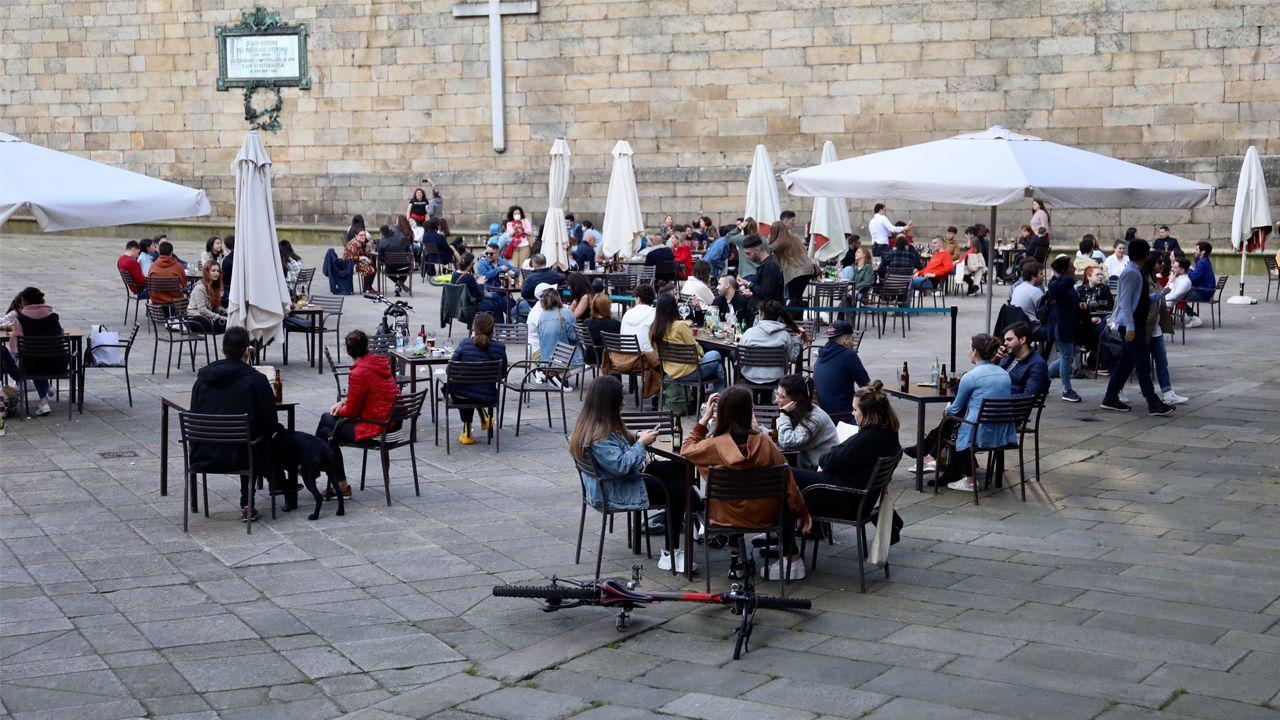 Plaza de la Quintana, en Santiago de Compostela, en la tarde del lunes