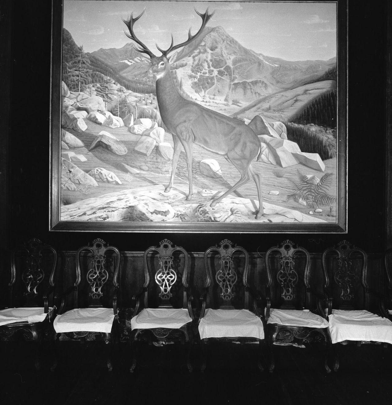 Fotografía de 1961 en la que se ve un juego de sillas de brazos de madera con arabescos y asientos de cuerda debajo de un cuadro de gran formato pintado, según algunas fuentes, por Franco. Patrimonio catalogó decenas de cabezas de ciervo, corzo y otros ejemplares abatidos por el dictador