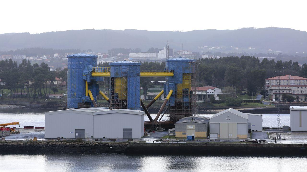 Estructuras para un parque eólico marino en los astilleros de Navantia en la ría de Ferrol