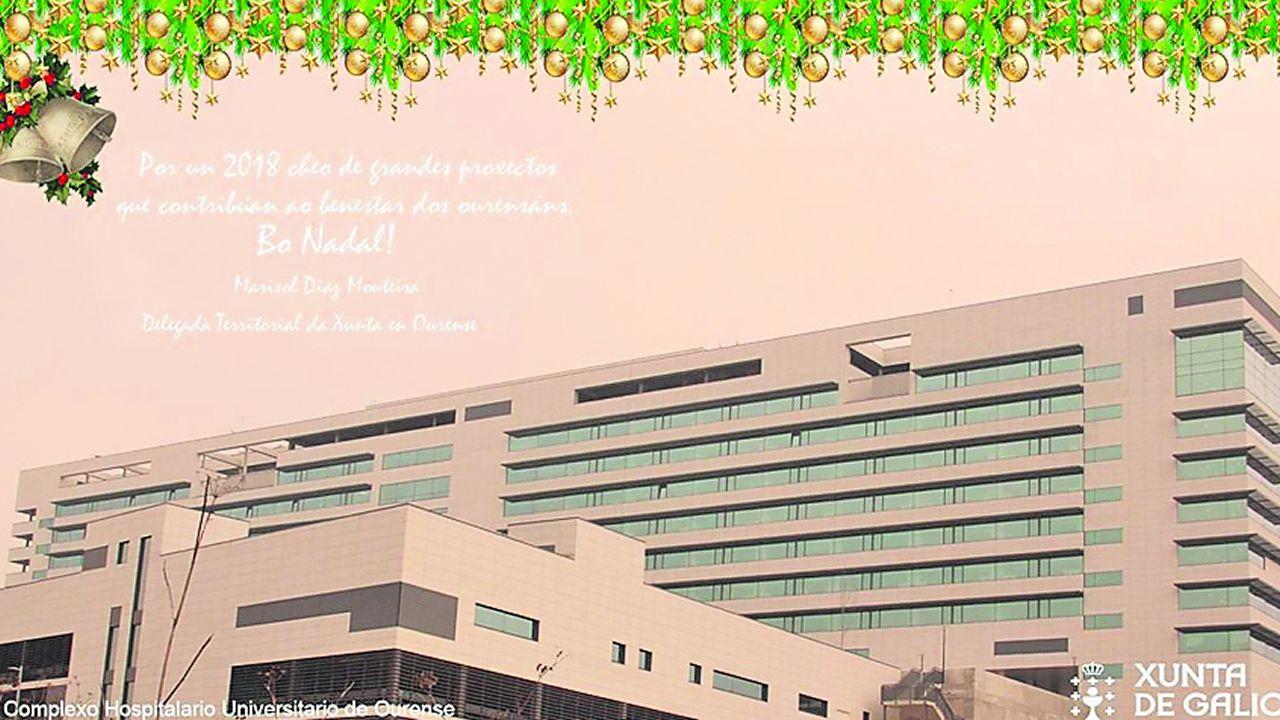 Inauguración hospitalaria. La delegada territorial de la Xunta en Ourense saca pecho en su felicitación del hospital inaugurado recientemente con una foto de la fachada del edificio en una imagen poco navideña.