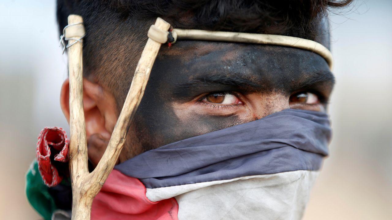 Un manifestante palestino, durante una protesta contra el traslado de la embajada de Estados Unidos a Jerusalén