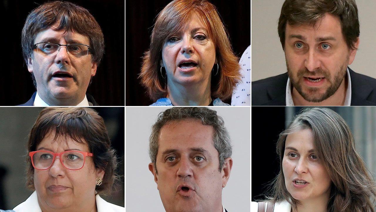 Los seis miembros del destituido Govern que están en Bruselas. De izquierda a derecha y de arriba a abajo: Carles Puigdemont, Meritxell Borràs, Antoni Comín, Dolors Bassa, Joaquim Forn y Meritxell Serret
