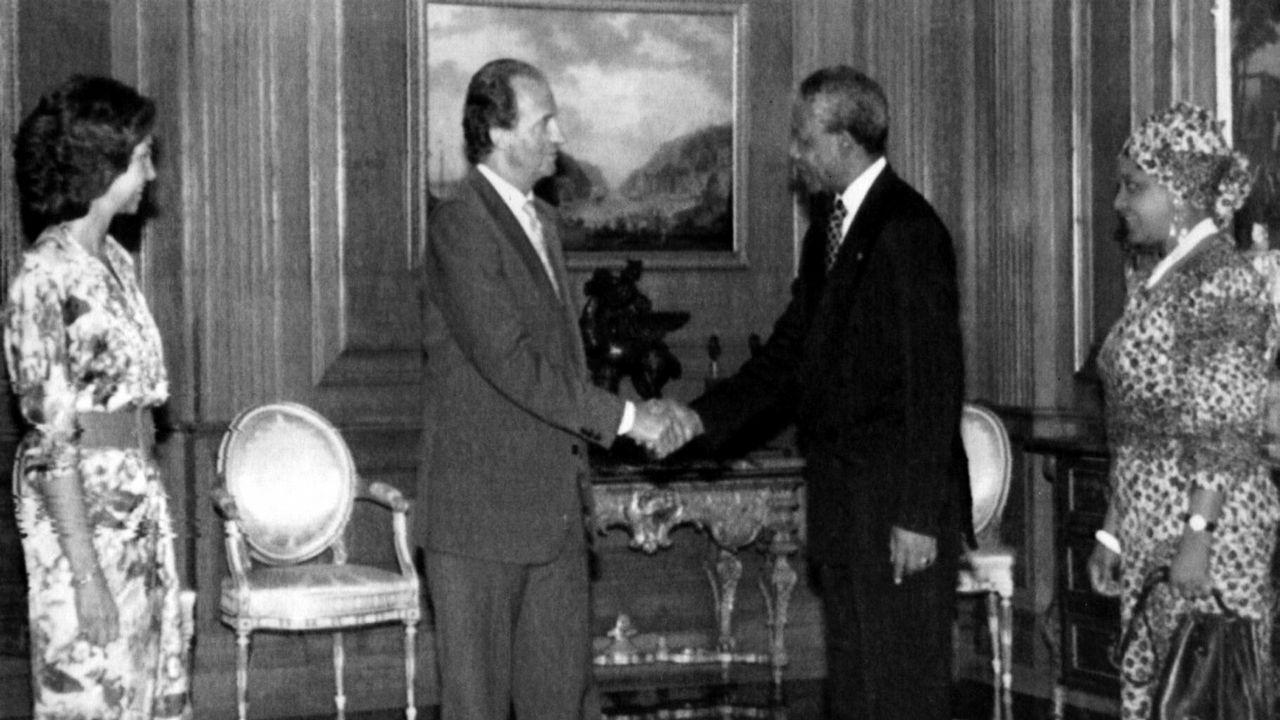 En 1991 en la recepción ofrecida en Zarzuela a Nelson y Winnie Mandela
