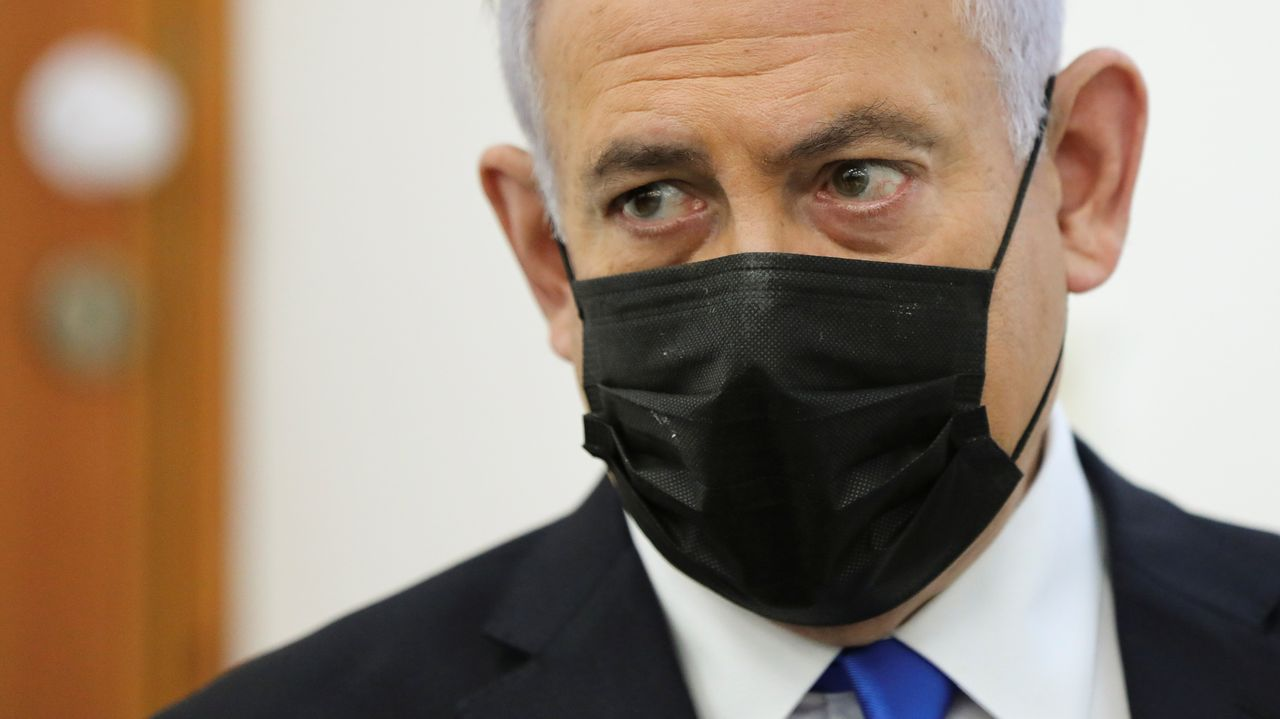 Netanyahu, durante su comparecencia ante el tribunal