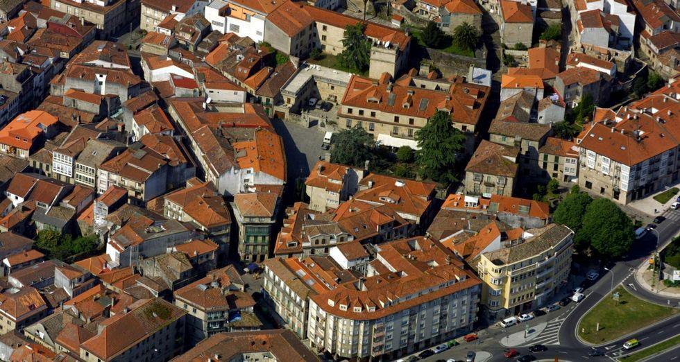 Vista aérea del casco histórico de Pontevedra