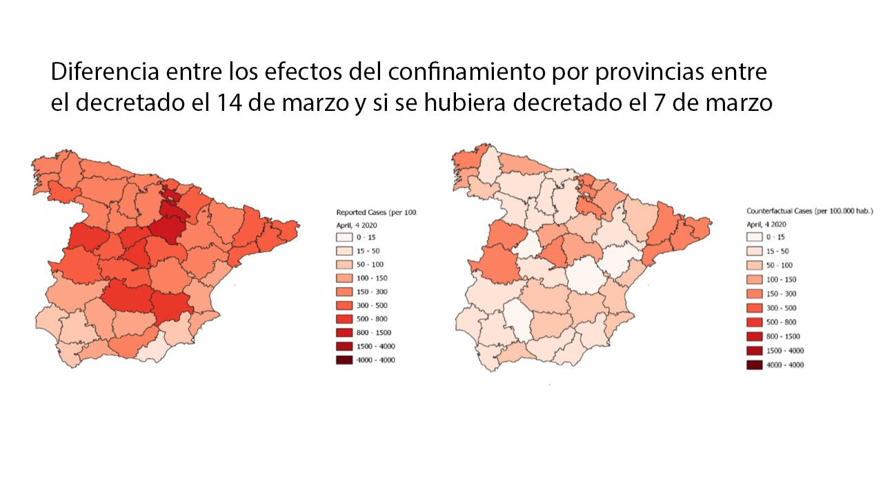 supremo.Del estudio, How effective has been the Spanish lockdown to battle COVID-19?  A spatial analysis of the coronavirus propagation across provinces, de Luis Orea e Inmaculada C. Álvarez
