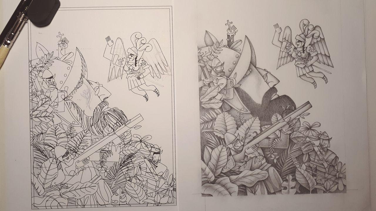 Detalle del proceso de trabajo del ilustrador