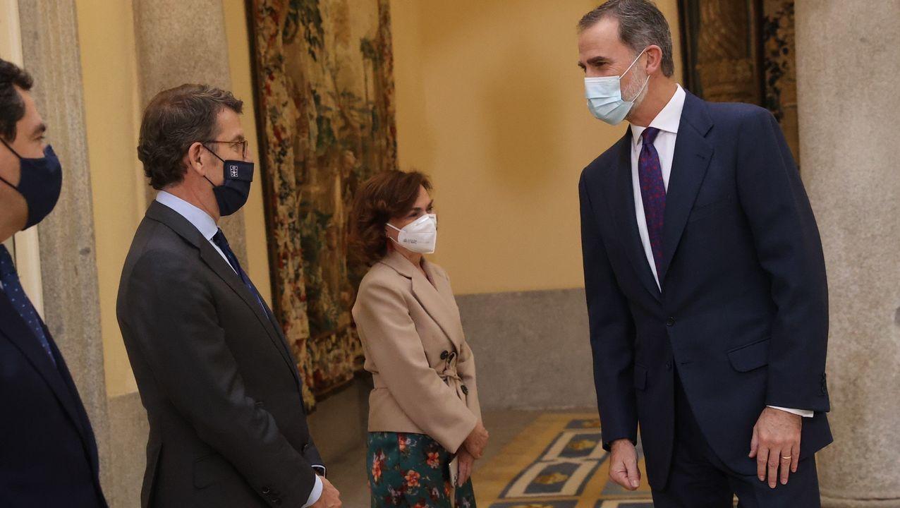 Núñez Feijoo, saludando al rey Felipe VI, a su llegada a la reunión del patronato de la Fundación pro-RAE celebrada este jueves