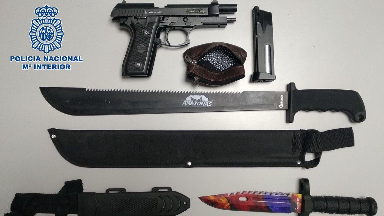 Armas decomisadas al 'capítulo' de los DDP de Torrejón de Ardoz