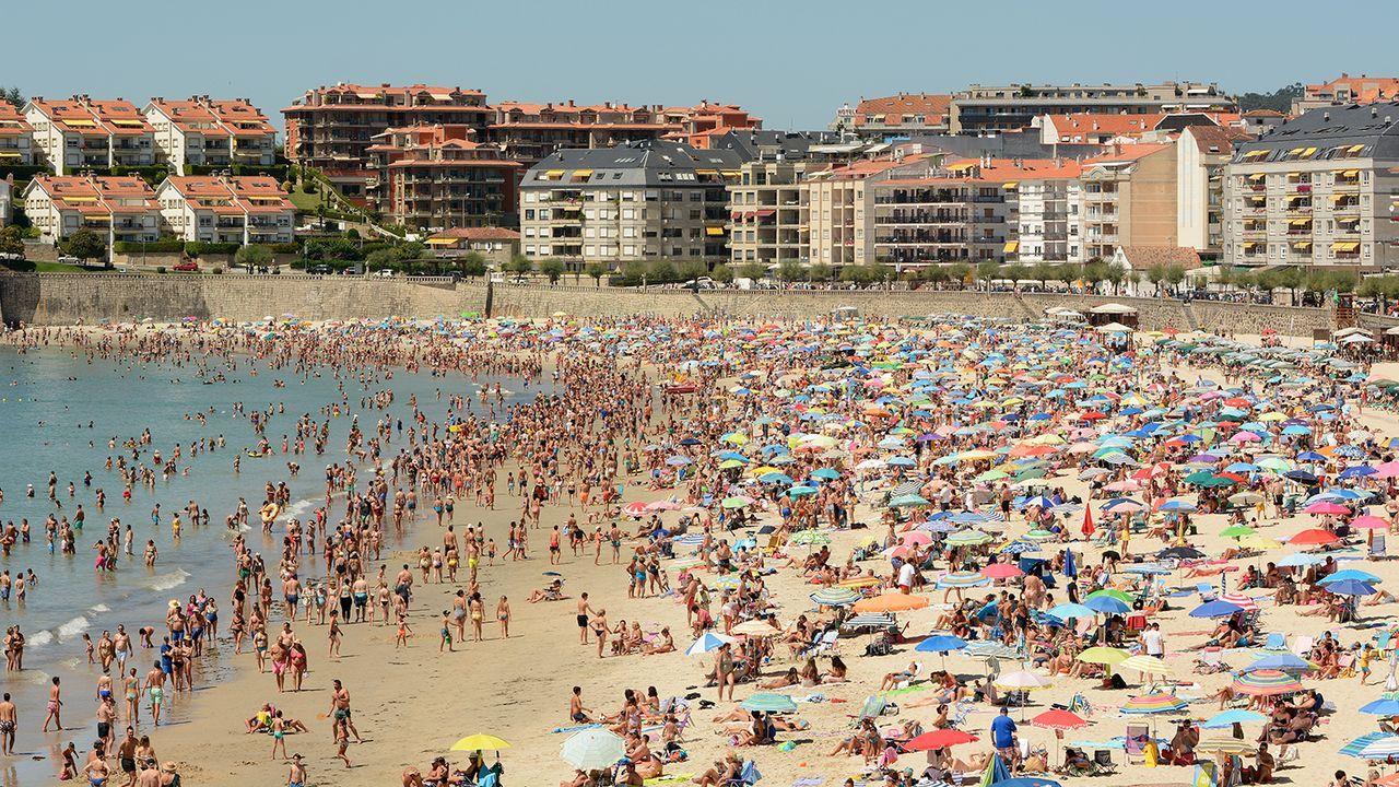 La playa de Silgar en Sanxenxo, en agosto del año pasado