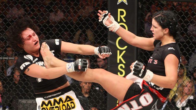 Gina Carano, estrella de las artes marciales mixtas.José Cuba, ejercitándose durante un entrenamiento en el Auditorio de Vilalba.