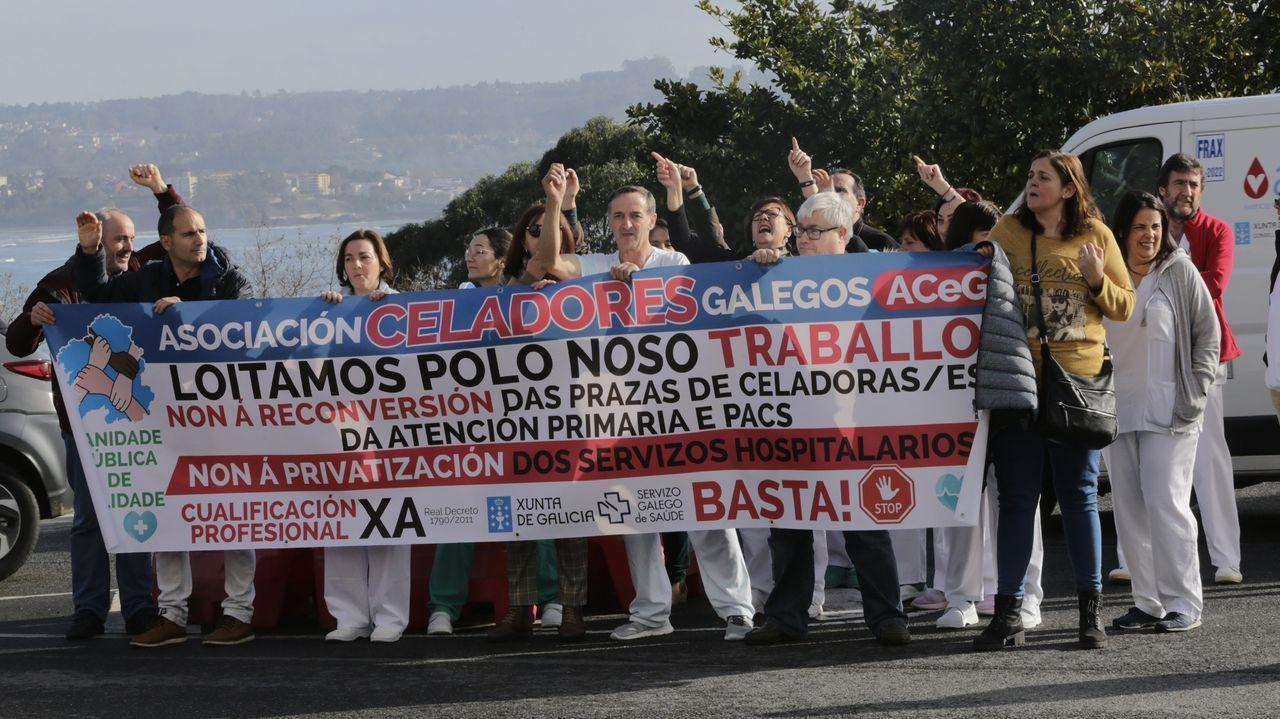 Protesta de celadores en el Chuac