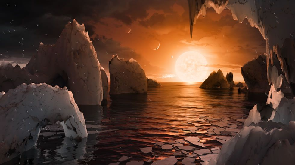 Recreación hecha por la Nasa de la posible superficie de Trappist -1f