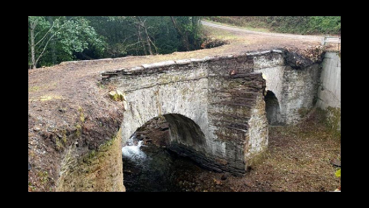 Lo que se cuece estos días en las bodegas de Ribeira Sacra.La vegetación que cubría el puente, situado en la localidad de Lousadela, ya fue retirada por completo