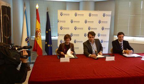 Nava Castro, Diego Calvo y Antonio Cañás hoy en la Diputación