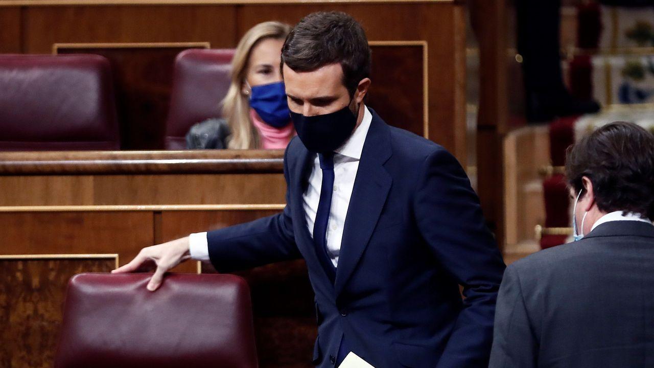 El líder del PP, Pablo Casado, durante el debate de la moción de censura de Vox