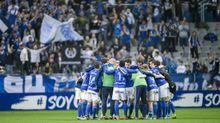 Los jugadores del Oviedo celebran la victoria ante el Albacete