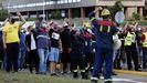Protesta de la plantilla de Alcoa ante el complejo industrial