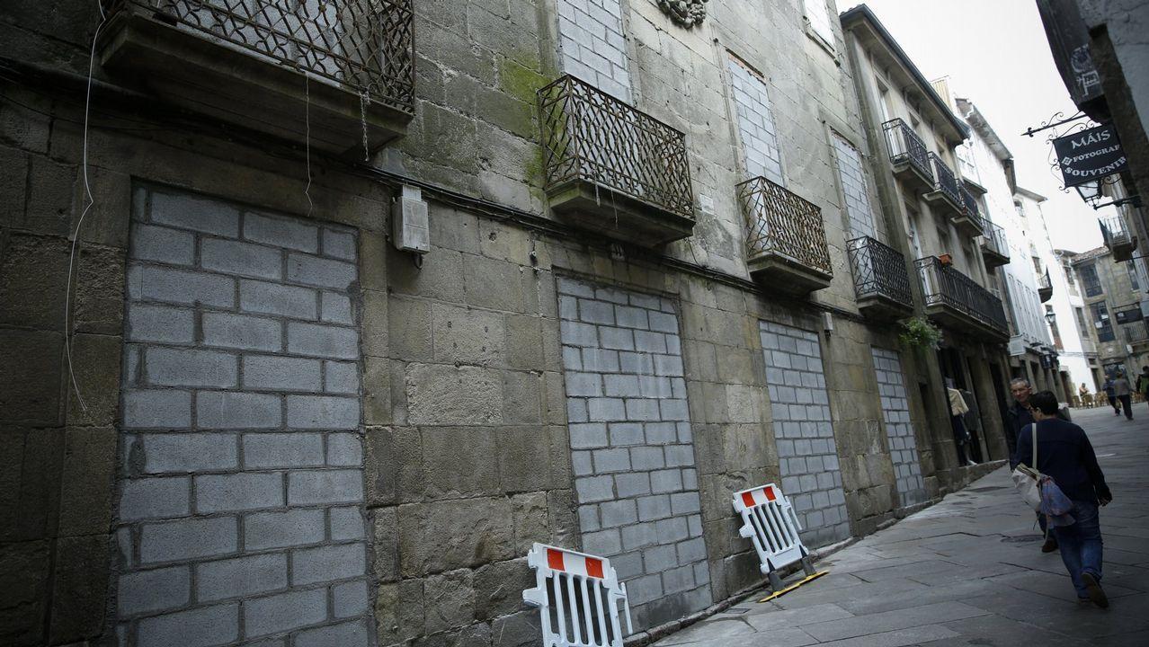Casa de la Algalia, en Santiago, que fue tapiada y que ahora ha vuelto a ser okupada