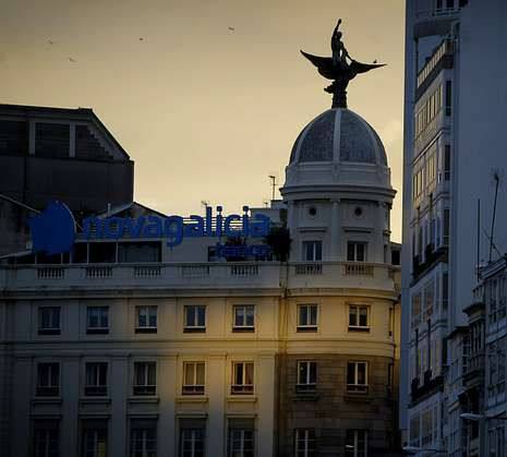 Imagen de la marca comercial de NCG sobre un edificio de los Cantones coruñeses.