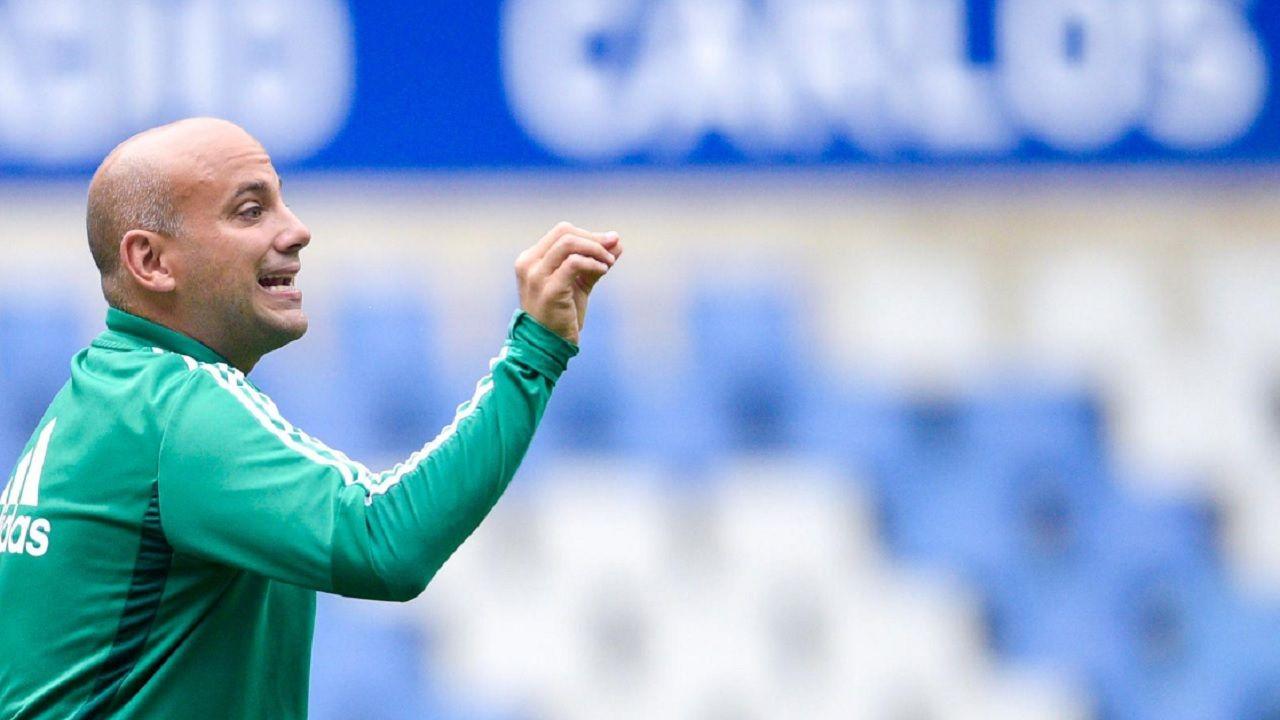 Rozada Real Oviedo Carlos Tartiere.Javi Rozada, durante un entrenamiento en el Carlos Tartiere