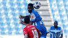 Uche Agbo, durante el partido contra el Zamora de la pasada temporada en Riazor
