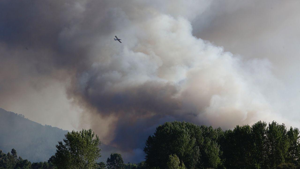 Accidente de un hidroavión portugués en el incendio de O Xurés.Personal técnico de incendios forestales se concentran ante el edificio de la Xunta en Lugo