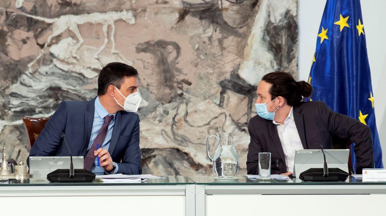 Pedro Sánchez y Pablo Iglesias, en el Consejo de Ministros celebrado este martes