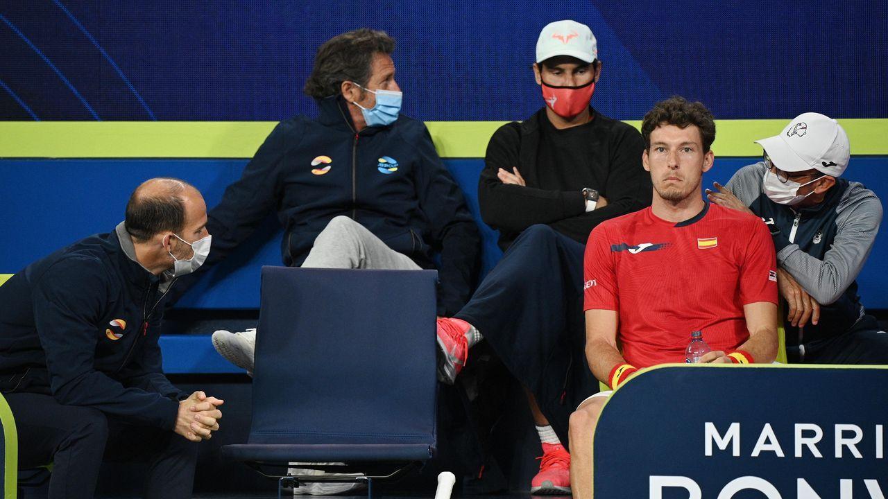 El rey del gif-art es gallego.Carreño, en el partido de semifinales de la ATP Cup ante Fognini