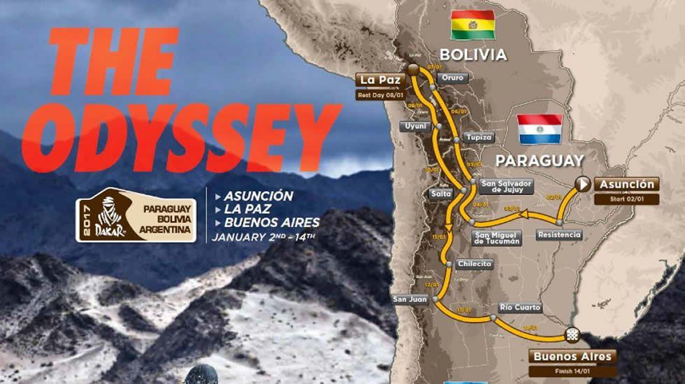Así será el recorrido del Dakar 2017