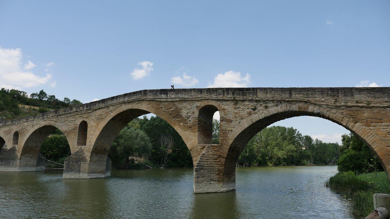 Vista del puente románico sobre el río Arga, a su paso por la localidad navarra de Puente la Reina