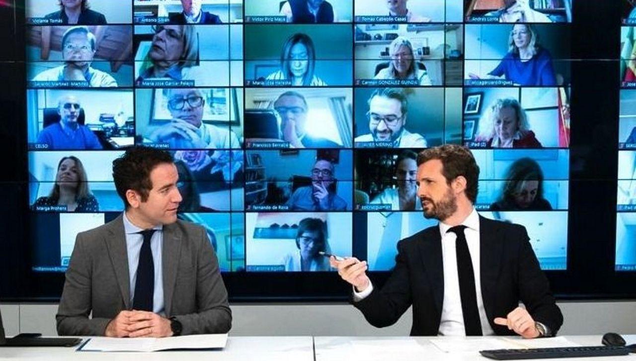 La distancia entre Gobierno y oposición se escenifica en el Congreso.Casado, junto a García Egea, en la reunión telemática del lunes con el grupo parlamentario popular