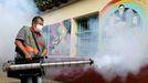 Un trabajador del servicio nacional de salud de Paraguay fumiga una escuela en San Lorenzo para contener el mosquito que transmite el dengue