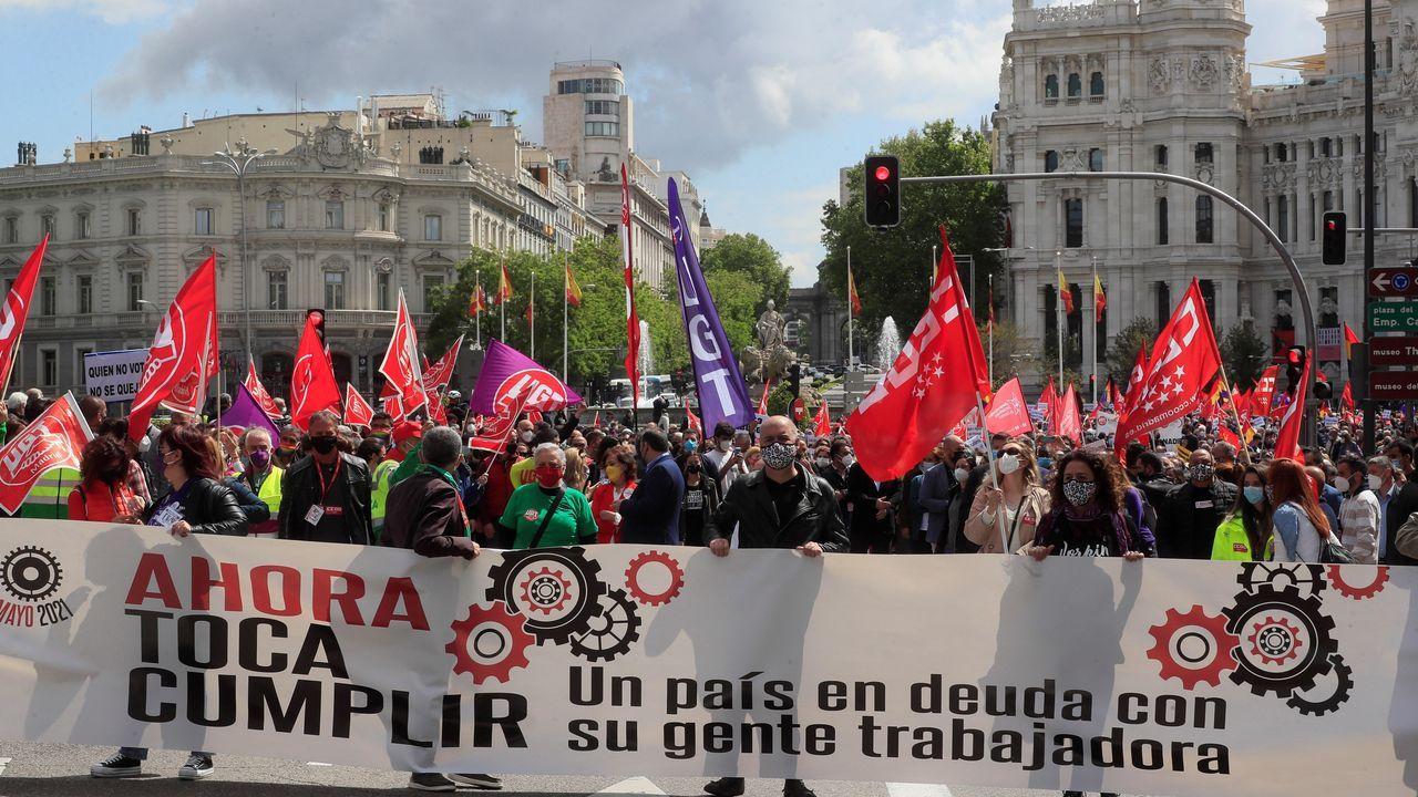 Cabecera de la manifestación del Primero de Mayo, este sábado en Madrid