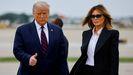 Donald y Melania Trump, en el aeropuerto de Cleveland