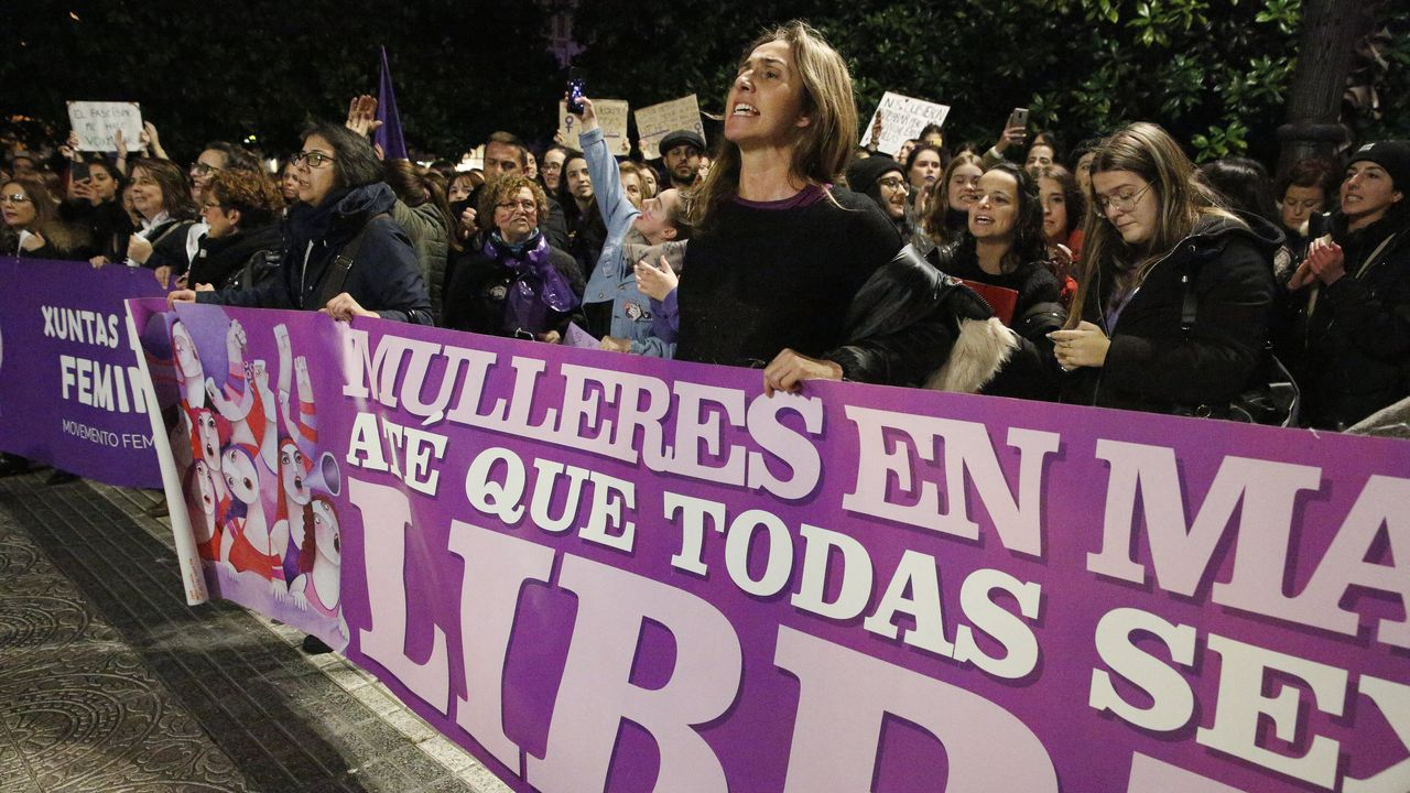 A Coruña, contra la violencia machista.Aula de un colegio