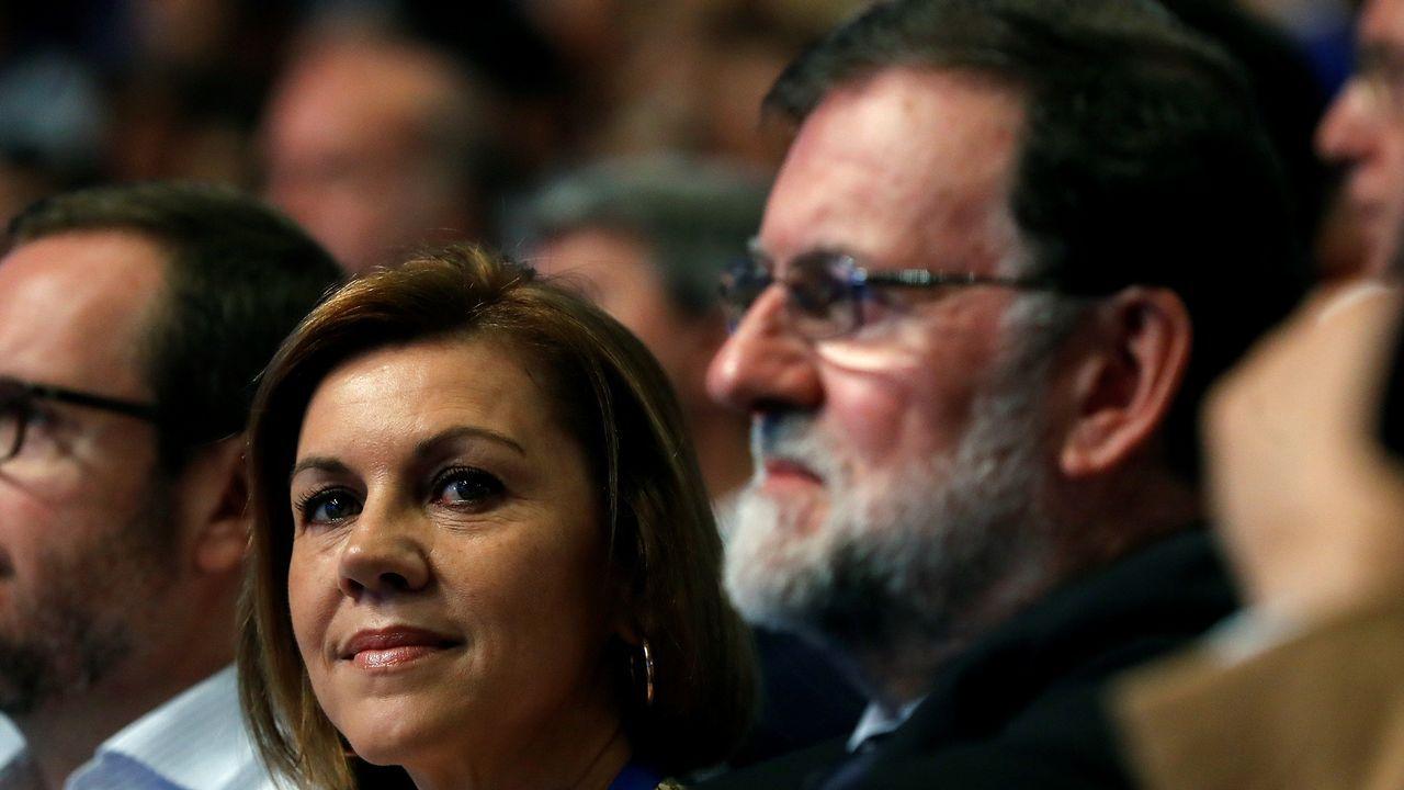 Rajoy y Cospedal, esta mañana.
