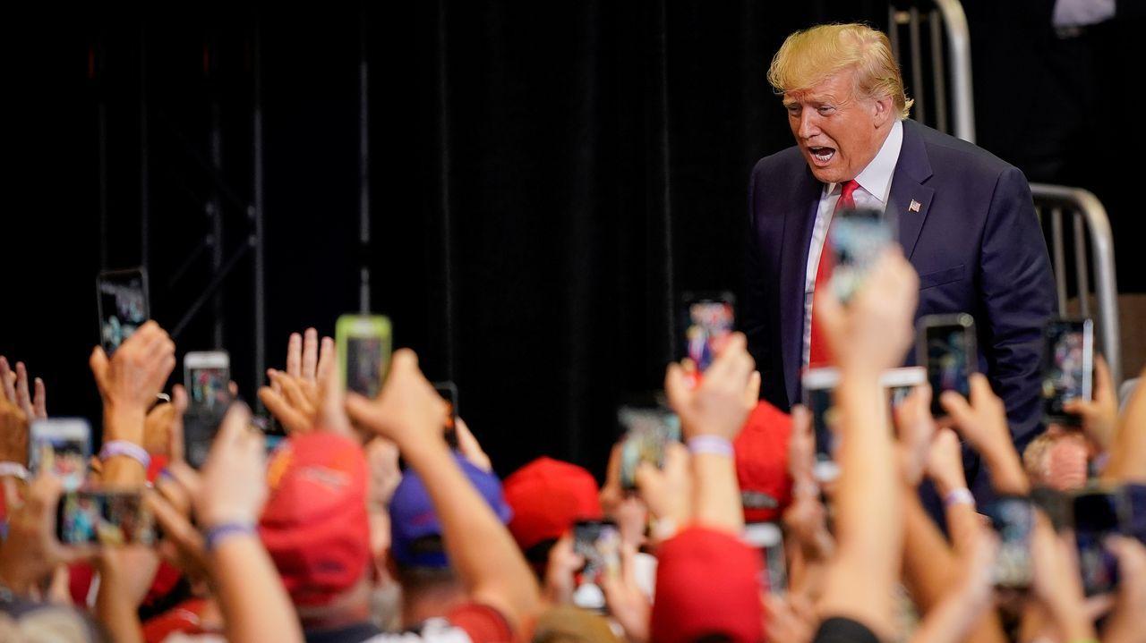 Donald Trump se dirige a sus fieles en un mitin en Cincinnati (Ohio)