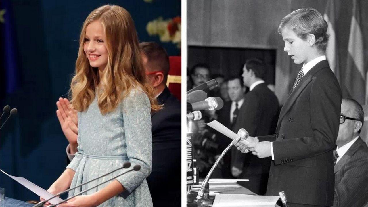 Combo de fotografías de la princesa Leonor, durante su primer discurso en la ceremonia de entrega de los Premios Princesa de Asturias 2019, y de su padre, el entonces Príncipe de Asturias Felipe de Borbón, durante su primer discurso en la entrega de los Premios Príncipe de Asturias 1981