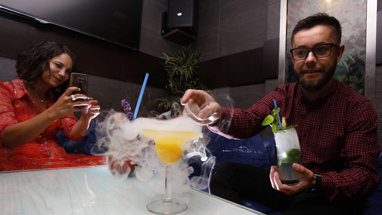 El efecto de la Flavour Blaster, fotografiado en el pub Alquimia, en Campo Castelo