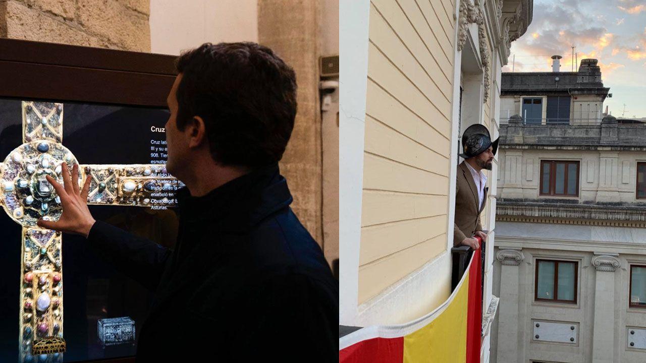 El PP, la última víctima de la «represión lingüística» en la Junta.Carmen Moriyón, en el centro de la imagen, junto a Pablo Casado, en la manifestación del 10 de febrero en Madrid