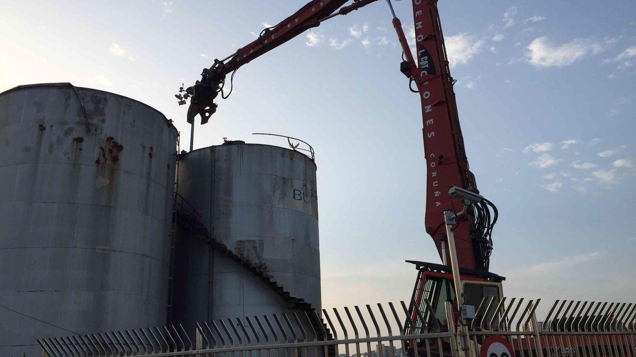 Demolición de los seis silos de la empresa Bunge en el muelle de Calvo Sotelo