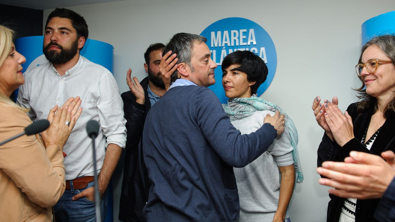 Seguimiento de los resultados en la sede de Marea Atlántica, en A Coruña
