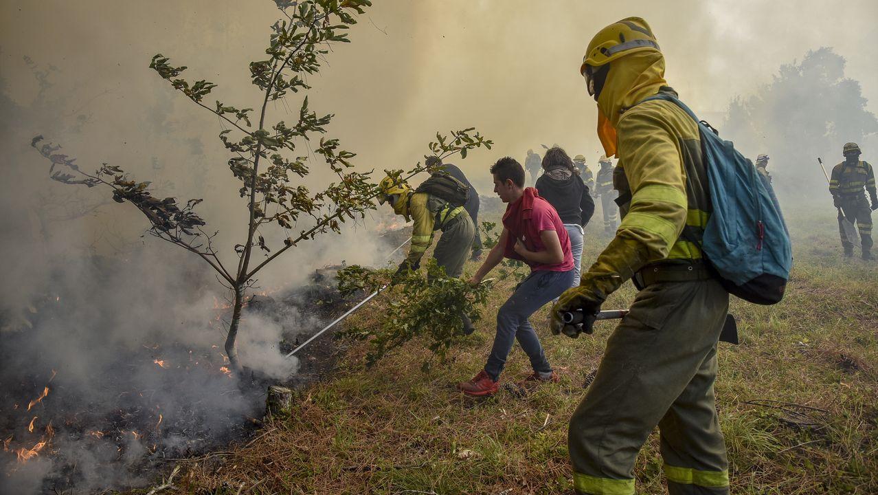 Monforte: el mayor incendio del verano en Galicia.Bomberos forestales apagan el fuego junto a las tumbas del cementerio parroquial de A Vide