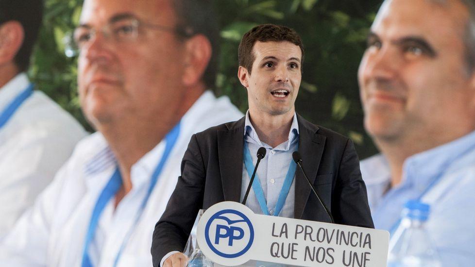 «Daré mi opinión en los plazos que marque el congreso del PP».El presidente de la Comisión Gestora del PSOE, Javier Fernández, momentos antes de votar en las primarias de su partido en la sede socialista de Gijón (Asturias).