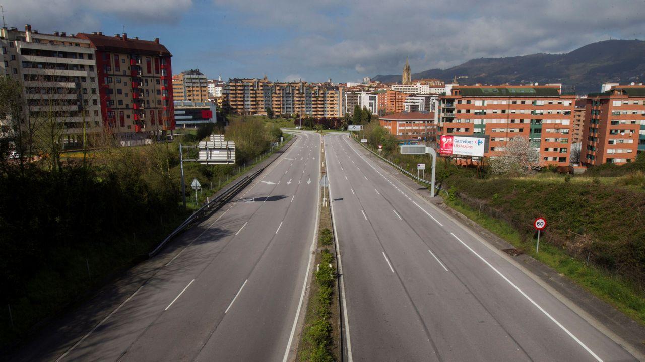 Entrada a Oviedo por la Ronda Sur, sin trafico