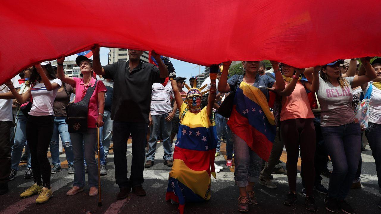 Manifestantes en las calles de Venezuela