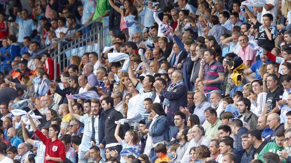 Aficionados del Celta durante el partido del domingo